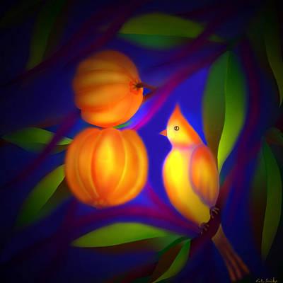 Art Print featuring the digital art Bulbul Resting On A Gambooge Tree by Latha Gokuldas Panicker