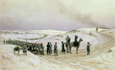 Bulgaria, A Scene From The Russo-turkish War Of 1877-78, 1879 Oil On Canvas Art Print by Mikhail Georgievich Malyshev