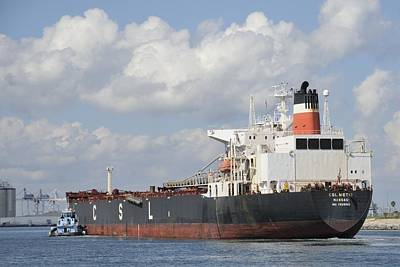 Photograph - Bulk Cargo Ship Arriving At Port. by Bradford Martin
