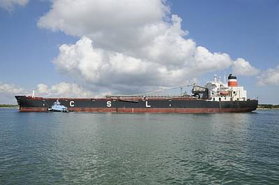 Photograph - Bulk Cargo Ship With Tug Escort by Bradford Martin