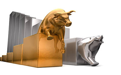 Buy Digital Art - Bull And Bear Economic Trends by Allan Swart