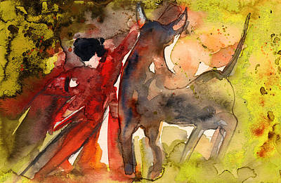 Painting - Bull And Man In Paphos by Miki De Goodaboom