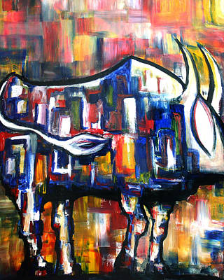 Painting - Bull At Sunset by Frank Botello