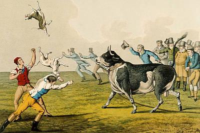 Bull Mastiff Painting - Bull Baiting, Pub. By Thomas Mclean by Henry Thomas Alken
