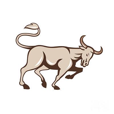 Bull Charging Side Cartoon Art Print by Aloysius Patrimonio