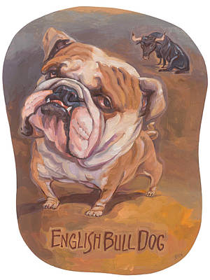 English Bull Dog Painting - Bull Dog Eyes The Prize by Shawn Shea