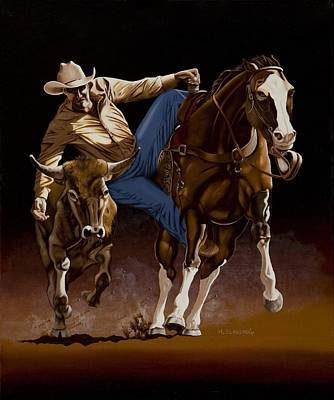 Rodeo Painting - Bull Doggin' by Hugh Blanding