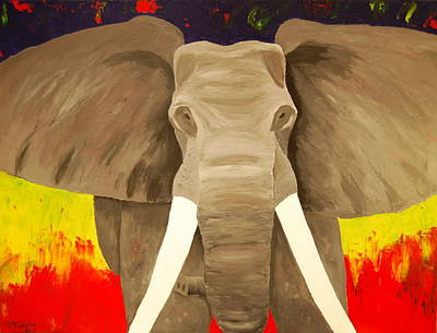 Painting - Bull Elephant Prime Colors by Frank Middleton