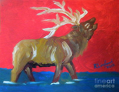 Painting - Bull Elk Bugling 1 by Richard W Linford