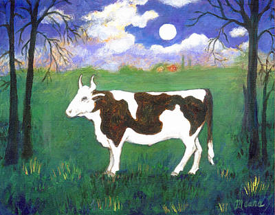 Animal Portraits Painting - Bull In Moonlight by Linda Mears