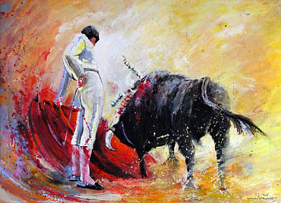 Torero Wall Art - Painting - Bull In Yellow Light by Miki De Goodaboom