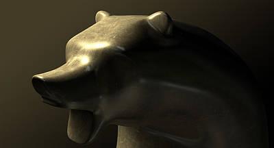 Bull Market Bronze Casting Contrast Art Print
