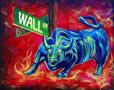 Bull Painting - Bull Market by Teshia Art