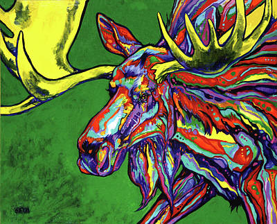 Yellowstone Painting - Bull Moose by Derrick Higgins