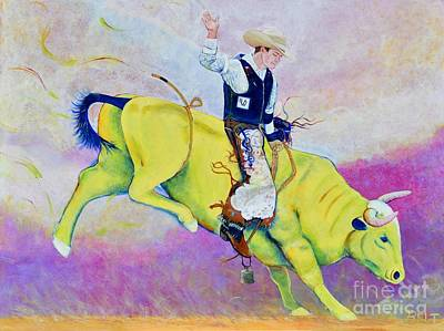 Artist Christine Belt Painting - Bull Rider Wren by Christine Belt
