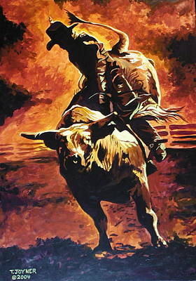 Painting - Bull Riding Hall Of Fame by Tim  Joyner