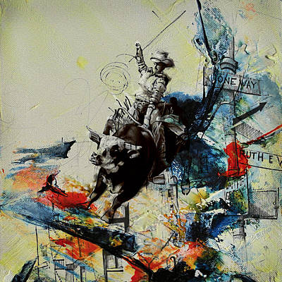 Bull Rodeo 02 Print by Corporate Art Task Force