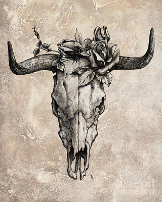Best Sellers - Animals Drawings - Bull Skull and Rose by Emerico Imre Toth