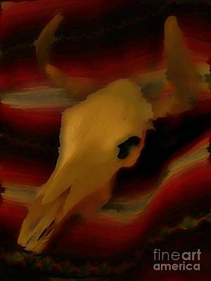 John Malone Art Work Digital Art - Bull Skull One by John Mlaone