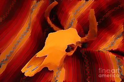 John Malone Art Work Digital Art - Bull Skull Two by John Malone