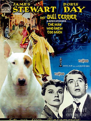 Bull Terrier Art Canvas Print - The Man Who Knew Too Much Movie Poster Art Print by Sandra Sij