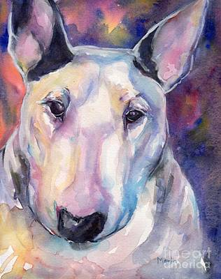 Watercolor Pet Portraits Painting - Bull Terrier by Maria's Watercolor