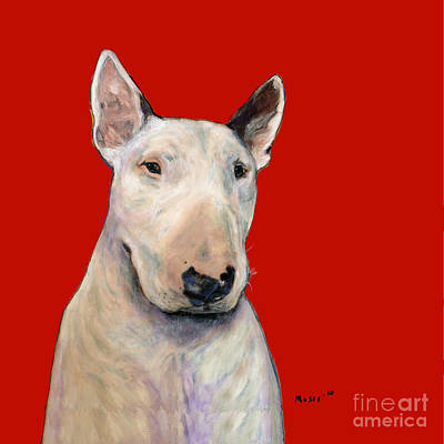 Bull Terrier On Red Art Print