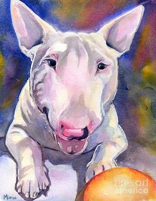 Bright Watercolor Portrait Bright Watercolor Painting - Bull Terrier Painting by Maria's Watercolor