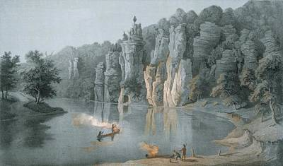 Canoes Drawing - Bullard Rock On The New River by Edward Beyer