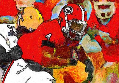 Georgia Bulldog Painting - Bulldog Back by John Farr