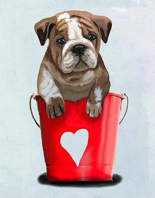 Bulldog Buckets Of Love Art Print