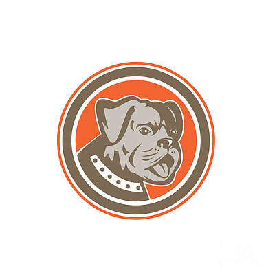 Mongrel Digital Art - Bulldog Dog Mongrel Head Mascot Circle by Aloysius Patrimonio