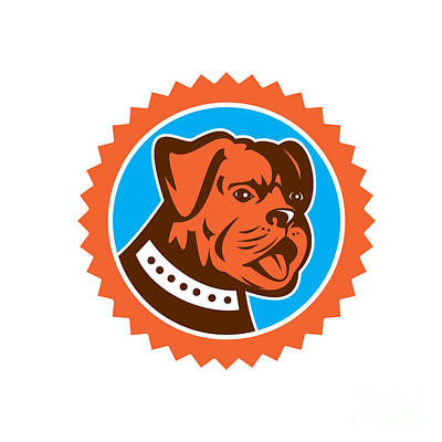 Mongrel Digital Art - Bulldog Dog Mongrel Head Mascot Rosette by Aloysius Patrimonio