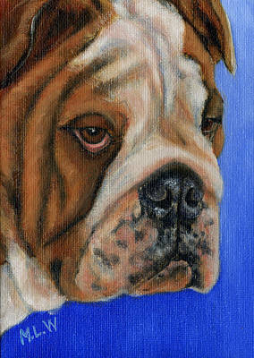 Bulldog Oil Painting - Beautiful Bulldog Oil Painting by Michelle Wrighton