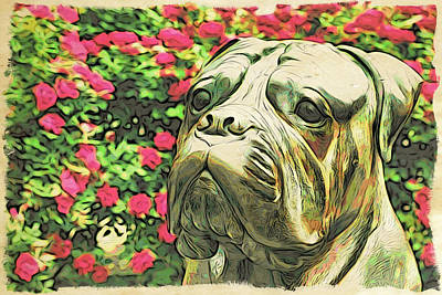 Photograph - Bulldog In The Roses by Alice Gipson