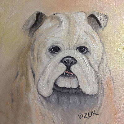 Art Print featuring the painting Bulldog by Karen Zuk Rosenblatt