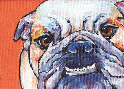 English Bulldog Painting - Bulldog by Greg and Linda Halom