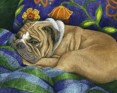 Bulldog Napping Art Print