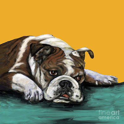 Bulldog Painting - Bulldog On Yellow by Dale Moses