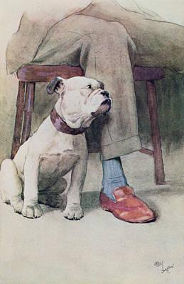 Bulldog Pen & Ink & Wash On Paper Art Print