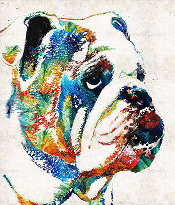 Colorful Dog Painting - Bulldog Pop Art - How Bout A Kiss - By Sharon Cummings by Sharon Cummings