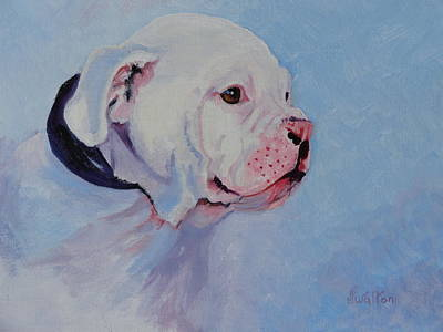 Bulldog Oil Painting - Bulldog Pup by Judy Fischer Walton