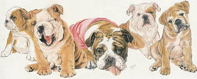 Sporting Mixed Media - Bulldog Puppies by Barbara Keith