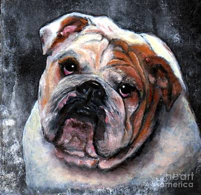 Bulldog Oil Painting - Bulldog by Wendy Ray