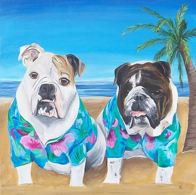 Dog Clothes Painting - Bulldogs On A Beach by Tracie Davis