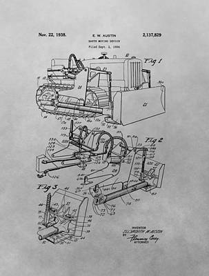 Tractor Drawing - Bulldozer Patent Drawing by Dan Sproul