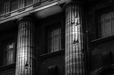Food And Flowers Still Life - Bullet holes in columns of the Pergamon Museum - Berlin Germany by Colin Utz