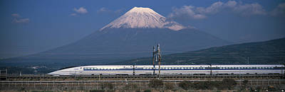 Mount Fuji Photograph - Bullet Train Mount Fuji Japan by Panoramic Images
