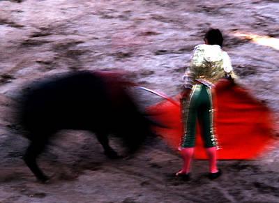Photograph - Bullfight - Blurry Toro by Robert  Rodvik