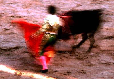 Photograph - Bullfight - Red Cape Blur by Robert  Rodvik